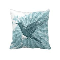Blue and white hummingbird pillow          Produced by sustainably employed single moms in the USA