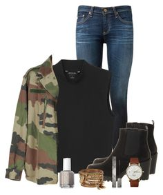 """Rainy Weather"" by nina4ever14 ❤ liked on Polyvore featuring moda, AG Adriano Goldschmied, Monki, Vagabond, Triwa, ALDO, Burberry e Essie"