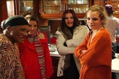 Cook, Lisa, Cilla and Riley in Graceland kitchen