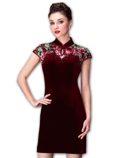 YINGYUE MLSJ Women's Velvet Red Cap Sleeve Floral Midi Dress Qipao. Mandarin collar, Invisible back zipper. Special dress with Chinese Characteristics. Waisted, Water-drop shape hollow, Enchanting. Shining sequins, Colourful flowers, Modern Fashion & Elegant. Velvet & Lace Patchwork, Breathable, Soft, Comfortable & Warm.
