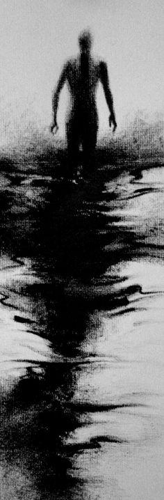 Haunting Figure Drawing Water Wading Gothic Haunting Moody Shadow Dark Fog Fine…