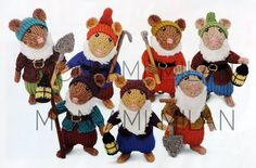 Alan Dart Knitting Pattern To Make The Seven Dwarfs Mice Mouse Panto Toys Part 2 Craft Patterns, Knitting Patterns, Alan Dart, Modern Toys, Stuffed Toys Patterns, Cross Stitch, Teddy Bear, Sewing, Crochet