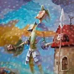 Don Quijote al óleo sobre canvas