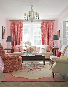 Vintage Cottage Decor- love all but the rug and pink patterned chair