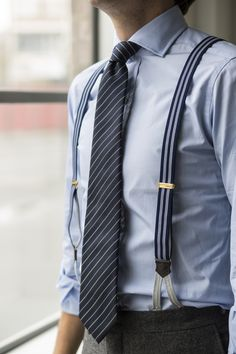 Drake's Diary - Staff Style. JRB wearing Drake's Pinstripe Silk Jacquard Tie and Navy and White Striped Braces.
