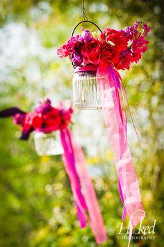 close up of flower jars