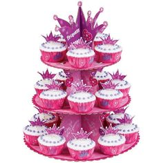 Wilton Princess Cupcake Stand Kit Free 2 Day Shipping! Its an instant princess party, with a bright 3-tier cupcake stand, fun decorative topper, colorful baking cups and Fun Pix Includes 12 x 15 in. high stand, 24 - 2 in. diameter cups and 24 - 3 in. high picks Holds up to 24 cupcakes Arrives within 1-3 days