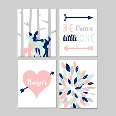 Girl Woodland Nursery Art Girl Tribal Nursery Decor, Pink Mint Navy Nursery Art, Be Brave Little One, Set of 4 Nursery PRINTS OR CANVAS Navy Nursery, Tribal Nursery, Nursery Canvas, Nursery Prints, Nursery Art, Woodland Nursery Girl, Mint And Navy, Dinosaur Nursery, Canvas Designs