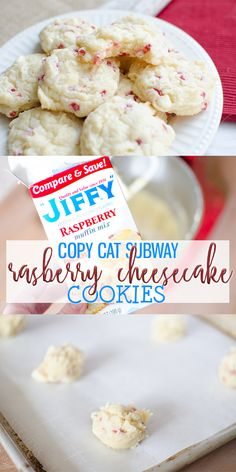 Raspberry Cheesecake Cookies - Cooking With Karli Raspberry Cheesecake Cookies are an easy, fruity cookie that uses Jiffy Muffin Mix. This Subway Copy-Cat cookie will quickly become a family favorite! Raspberry Cookies, Raspberry Muffins, Subway Raspberry Cheesecake Cookies, Raspberry White Chocolate Cookies, Raspberry Recipes, Strawberry Cheesecake, Cookie Desserts, Fun Desserts, Delicious Desserts