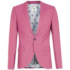 TOPMAN Noose & Monkey Pink Suit Jacket ($170) ❤ liked on Polyvore featuring men's fashion, men's clothing, pink and pink mens clothing
