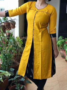 slip open side n front alsoAm gng to try thiasDifferent Types of Kurti Designs Every Woman Should Know (With Video Tutorial) - ArtsyCraftsyDad Salwar Neck Designs, Kurta Neck Design, Kurta Designs Women, Dress Neck Designs, Blouse Designs, Salwar Pattern, Kurta Patterns, Chudidhar Designs, Mode Hijab