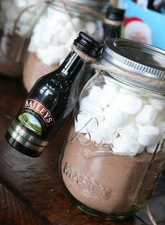 Adult Hot Chocolate in a jar gift. Add hot chocolate mix, top with marshmallows. Tie tiny bottle to the jar