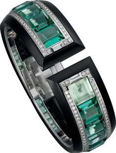 Cartier High Jewelry HPI00893 Watch set with 12 emerald cut green tourmalines and diamonds | World's Best