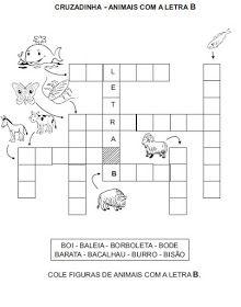 Saber e Saberes: Cruzadinhas com banco de palavras 1, Reading Activities, Letter B, Tin Cans, Classroom, Dressmaking, Flowers