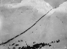Miners and prospectors climb the Chilkoot Trail during the Klondike Gold Rush. From the Canadian National Archives.