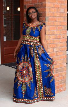 Blue African Dashiki Maxi Dress Size 8-10 by MsAlabaAfricanShop