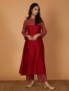 Maroon Gota Cotton Silk Kurta with Pants- Set of 2 Stylish Dresses For Girls, Stylish Dress Designs, Dress Neck Designs, Designs For Dresses, Simple Dresses, Kaftan Designs, Heavy Dresses, Simple Outfits, Short Dresses