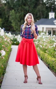 midi skirt 2015 New Fashionwomen's knee length skirts red pleated high waist skirts with bows plus size
