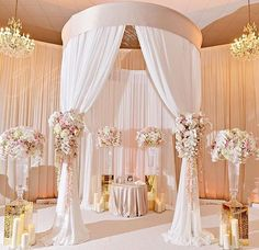Gorgeous white & gold ceremony decor by Wink Designs