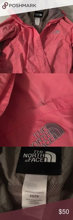 Cute Spring North Face jacket! Great condition!  Small small as shown in second pirate but can easily be cleaned! Great for spring and the rain 😋 North Face Jackets & Coats