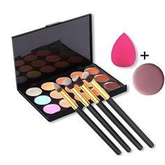 UbeautyTM 15 Colors Contour Face Cream Makeup Concealer Palette  4pcs Powder Brushes With Free Makeup Sponge Blender ** Check out this great product.