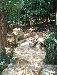 stone patio fireplace chimney pond Atlanta fieldstone chimney grill luxury hardscaping ideas luxury hardscaping ideas #luxury #hardscaping #ideas