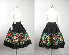 Vintage 1950s Circle Skirt   50s DEADSTOCK Mexican Cotton Novelty Print Hand Painted Floral Animals Black Souvenir Skirt (small)   Birthday Life Vintage on Etsy