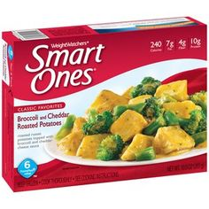 Weight Watchers Smart Ones Classic Favorites Broccoli and Cheddar Roasted Potatoes, 10 oz Roasted russet potatoes topped with broccoli and cheddar cheese sauce 240 calories fat fiber protein Weight Watchers Smart Ones, Microwave Dinners, Frozen Appetizers, Cheddar Cheese Sauce, Cheese Cultures, Healthy Menu, Broccoli Cheddar, Frozen Meals, Cooking Instructions