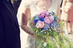 Lovely pale pink and cornflower blue trailing wedding bouquet.  From 'A Bride Who Wore Her Grandmother's 1949 Vintage Wedding Dress'.  Photography http://www.rebeccadouglas.co.uk/