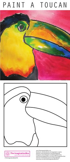 The ImaginationBox: Get creative and celebrate this popular Brazilian bird - paint a toucan in vibrant tropical colours  - free template to download.