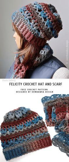 18797542b3ba9f Felicity Crochet Hat and Scarf Hauben, Schals, Stricken, Gehäkelte Mütze,  Handschuhe Häkeln