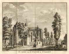 Kerk van S. Pieter 1760, tekening Jan de Beijer 1745 - graveur Hendrick Spilman, op blad ca. 19.7 x 23 cm.