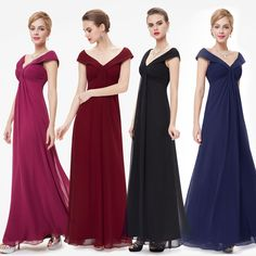 Cool Awesome Ever-pretty US Long V-neck Cap Sleeve Prom Gown Bridesmaid Wedding Dresses 08457 2017 2018 Bride Groom Dress, Bride Gowns, Chiffon Evening Dresses, Evening Gowns, Cheap Bridesmaid Dresses, Wedding Dresses, Bridesmaids, Mother Of The Bride Gown, Party Gowns