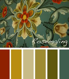 Rosemaling color palette - like the blue being the most of it with great complementary colors. Love the rust in with the greens. Feels professional.