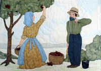 "#11 ""Bonnet Girls Seasons""   Apple Valley Pattern  $13.50.    Mariah and Samuel are picking apples to me made into apple juice or cider.  A full basket of apples sits under the apple tree while Samuel takes a break.   Shadow appliqué is used in the sky and landscape areas."