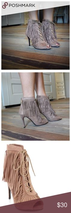 """Taupe peep toe lace up fringe bootie Back zipper, 4"""" heel height. Add to bundle to save when purchasing two or more items from my closet. SST8540916 Shoes Ankle Boots & Booties"""