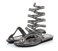 Women's Rhinestone Lace Up Wrap Gladiator Thong Sandal ** Check this awesome product by going to the link at the image.