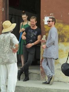 Michael Fassbende w/ Ryan Gosling on the set of the new untitled Terrence Malick movie