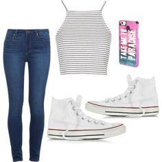The Perfect Pair II by prih-b on Polyvore featuring moda, Topshop, Paige Denim, Converse and Aéropostale