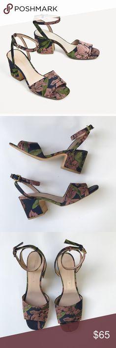 Zara Embroidered Block Heel Sandals -Multicolor -Size 39 (9) -2.7in heel height  -Ankle strap to fasten Zara Shoes Heels