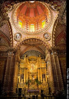 Ornate Guadalupita Church Interior Altar Cross and Dome Morelia, Mexico.