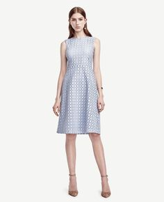 """Ann Taylor - Eyelet Flare Dress: Detailed with intricate eyelet, this charmingly pretty dress flaunts dreamy hues in a femme flare silhouette. Jewel neck. Sleeveless. Hidden back zipper with hook-and-eye closure. Lined. 26"""" from natural waist."""