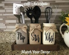 Kitchen Decor Decor diy Decor modern Decor on a budget Decor themes Decor wall Flip Stir Whisk Utensil Holder Mason Jar Decor Kitchen Mason Jar Projects, Mason Jar Crafts, Mason Jar Diy, Mason Jar Kitchen Decor, Rustic Mason Jars, Pickle Jar Crafts, Jars Decor, Painted Mason Jars, Fall Mason Jars