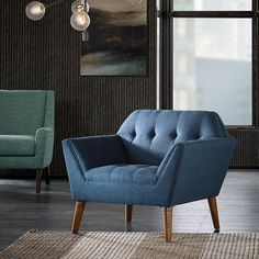 Comfortable and stylish, this INK+IVY Wynn lounge accent chair is the perfect pick for any room. Living Room Chairs, Armchair, Blue Lounge, Furniture, Fabric Armchairs, Room Chairs, Mid Century Modern Living Room, Modern Upholstery, Lounge