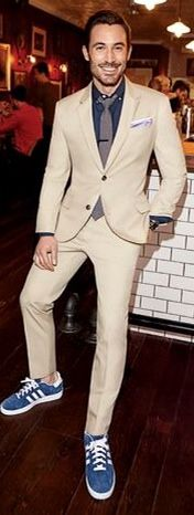 Khaki Cotton Suit, and Blue Adidas Sneakers. Men's Spring Summer Fashion. I suggest a more subtle sneaker such as Converse.