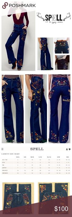 "Spell & The Gypsy Collective Flared Jeans.  NWOT. Spell & The Gypsy Collective Wanderlust Embroidered Flared Jeans, 100% cotton, machine washable, 29"" waist, 12"" front rise, 16"" back rise, 40"", 32"" inseam, 23"" leg opening all around, these high rise flares have a semi relaxed fit through the leg, colorful floral embroidery detailing throughout, rigid denim, flat back, two front pockets, zip fly button closure, black line drawn through label to prevent return to store, measurements are…"
