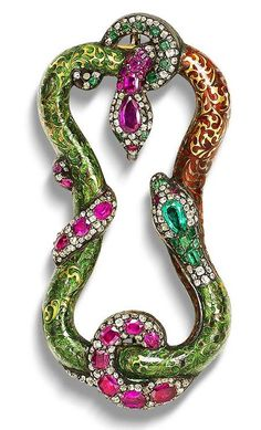 A late 19th century enamel and gem-set Buckle #antique #jewelry