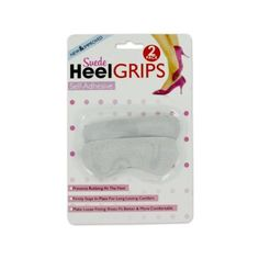 """72 Suede heel grips by FindingKing. $100.99. Suede heel grips are self-adhesive and firmly stay in place for long lasting comfort. Helps prevent rubbing at the heel and makes loose fitting shoes fit more comfortably. Each pack comes with 2 grips. Comes packaged on a blister card with hanging hole. Grips measure 4"""" x 1 1/2""""."""