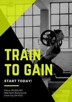 Neon Green Black Photo Gym Poster