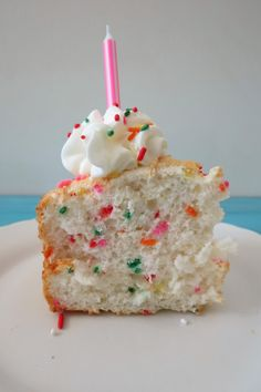 Funfetti Angel Foodcake  - 3 WW Points plus.  A light, fluffy vanilla flavored sponge cake filled with colorful sprinkles.